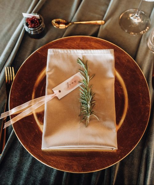 details on a serving wedding table